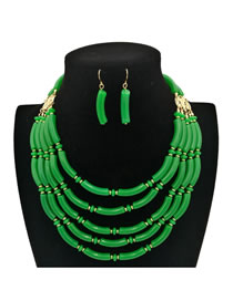 Bohemia Green Pure Color Decorated Jewelry Sets