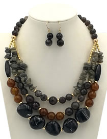 Exaggerate Black Irregularity Shape Decorated Jewelry Sets