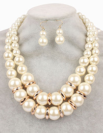 Elegant Beige Pure Color Decorated Double Layer Jewelry Sets