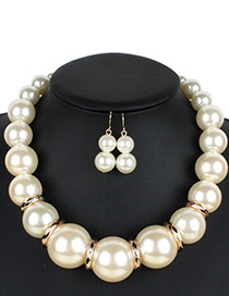 Exaggerate White Round Shape Diamond Decorated Jewelry Sets
