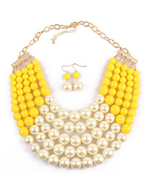 Exaggerate Yellow Color-matching Decorated Multilayer Jewelry Sets
