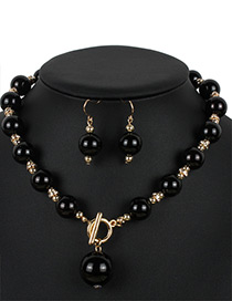 Personality Black Hollow Out Round Shape Decorated Jewelry Sets