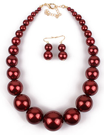 Exaggerate Dark Red Big Round Shape Decorated Jewelry Sets