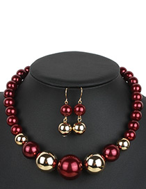 Exaggerate Claret-red Color-matching Decorated Jewelry Sets
