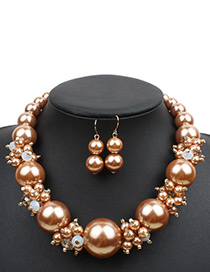 Exaggerate Gold Color Big Round Shape Decorated Necklace