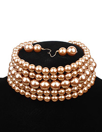 Elegant Gold Color Pure Color Decorated Multilayer Choker