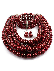 Elegant Dark Red Pure Color Decorated Multilayer Jewelry Sets