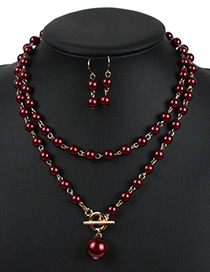 Fashion Dark Red Hollow Out Decorated Jewelry Sets