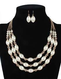 Elegant White Oval Shape Decorated Multilayer Jewelry Sets