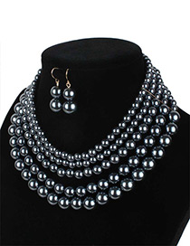 Elegant Gun Black Pure Color Decorated Multilayer Jewelry Sets