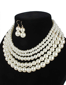 Elegant Beige Pure Color Decorated Multilayer Jewelry Sets