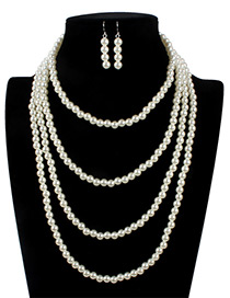 Retro White Pure Color Decorated Multilayer Jewelry Sets