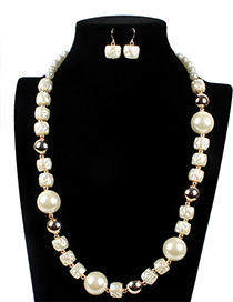 Vintage White Square Shape Decorated Jewelry Sets