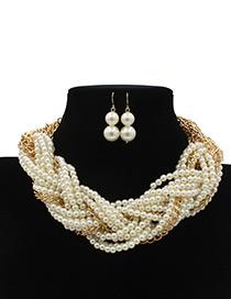 Elegant White Chain Decorated Jewelry Sets