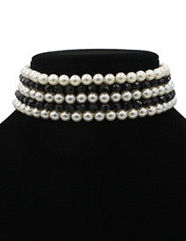 Vintage White+black Round Shape Decorated Multilayer Jewelry Sets