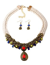 Vintage Multi-color Oval Shape Decorated Jewelry Sets