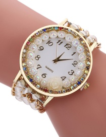 Fashion White Diamond Decorated Flower Shape Pure Color Watch