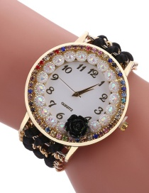 Fashion Black Diamond Decorated Flower Shape Pure Color Watch