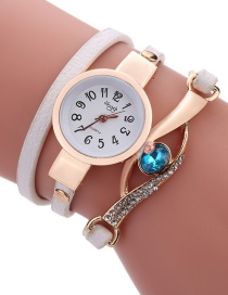 Fashion White Diamond Decorated Round Dail Shape Simple Watch