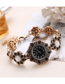 Fashion Black Diamond Decorated Rhombus Shape Pure Color Watch