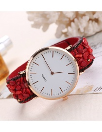 Fashion Red Round Dail Decorated Pure Color Watch