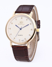 Fashion Brown+gold Color Round Dail Decorated Pure Color Watch
