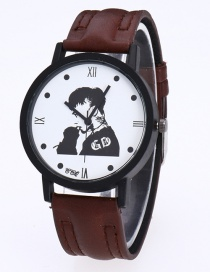 Fashion Brown Gd Pattern Decorated Pure Color Watch
