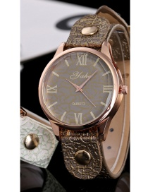 Fashion Dark Green Rivet Decorated Round Dail Pure Color Watch
