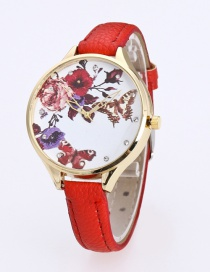 Fashion Red Butterfly&flower Pattern Decorated Pure Color Watch