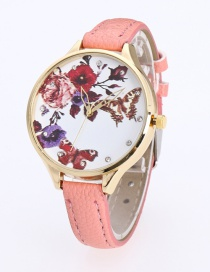 Fashion Pink Butterfly&flower Pattern Decorated Pure Color Watch