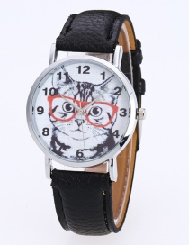 Fashion Black Cat Pattern Decorated Round Dail Pure Color Watch