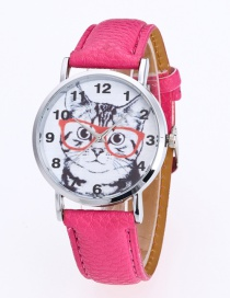 Fashion Plum Red Cat Pattern Decorated Round Dail Pure Color Watch