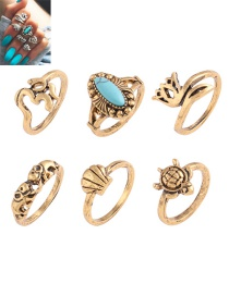 Fashion Gold Color Elephant&flower Shape Decorated Simple Ring (6 Pcs)