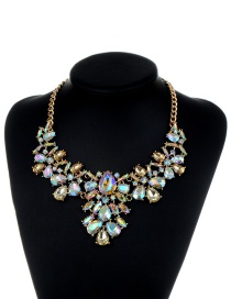 Fashion Champagne Water Drop Shape Diamond Decorated Simple Necklace