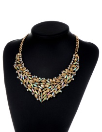 Fashion Champagne Oval Shape Diamond Decorated Pure Color Necklace