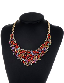 Fashion Red Oval Shape Diamond Decorated Pure Color Necklace