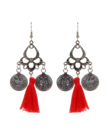 Fashion Red Coins&tassel Decorated Simple Earrings