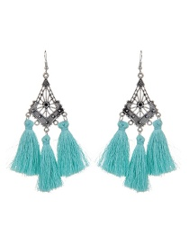 Fashion Light Blue Long Tassel Decorated Hollow Out Earrings