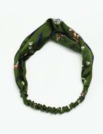 Fashion Drak Green Flower Pattern Decorated Simple Hair Hoop