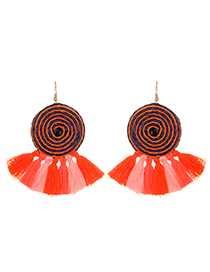 Fashion Multi-color Tassel Decorated Round Shape Simple Earrings