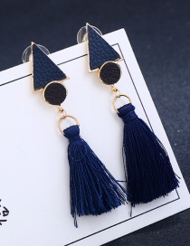Fashion Sapphire Blue Diamond&tassel Decorated Simple Earrings