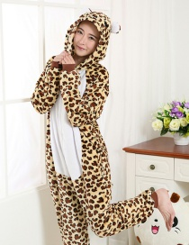 Fashion Brown+yellow Leopard Pattern Decorated Simple Nightgown