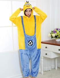 Fashion Yellow+blue Minions Shape Decorated Simple Nightgown