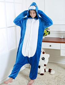 Fashion Sapphire Blue Shark Shape Decorated Simple Nightgown