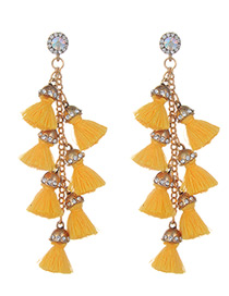 Fashion Yellow Tassel Decorated Pure Color Earrings