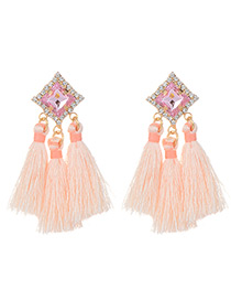 Fashion Pink Diamond&tassel Decorated Pure Color Earrings