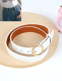 Fashion White Circular Ring Decorated Pure Color Waistband