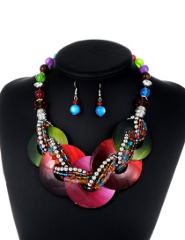 Fashion Multi-color Circular Ring&beads Decorated Simple Jewelry Sets