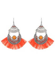 Fashion Orange Tassel Decorated Hollow Out Earrings
