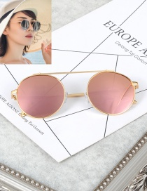 Fashion Pink Pure Color Decorated Round Shape Frame Glasses